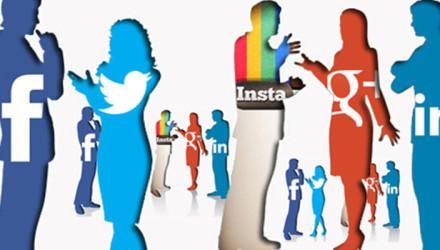social media logos as people