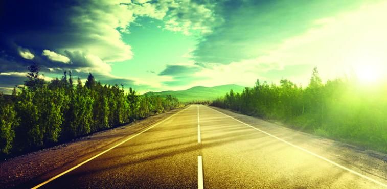 road trip highway scene