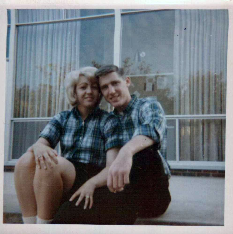 mom and dad in plaid shirts